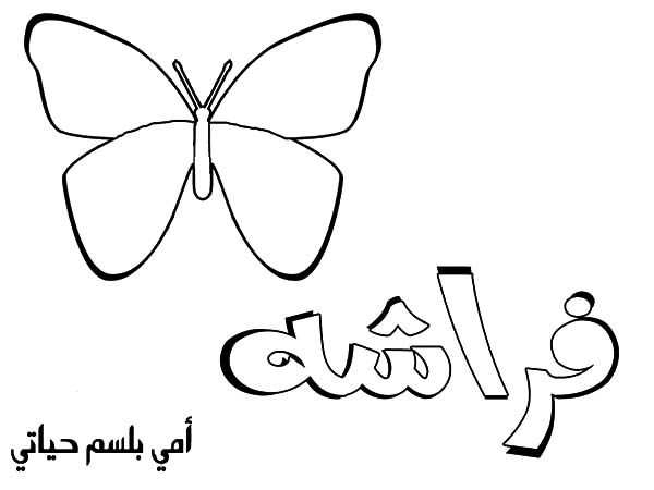 Arabic Alphabet, : Arabic Alphabet for Butterfly Coloring Pages