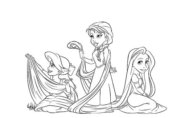 Anna, : Ariel and Anna laying with Rapunzel Hair Coloring Pages