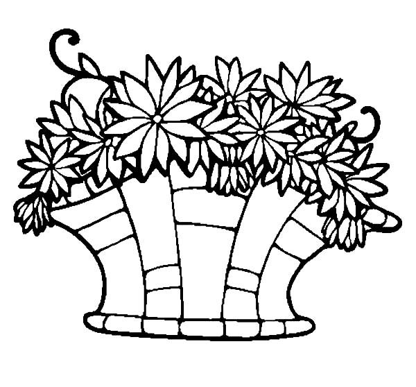 Basket of Flowers, : Arranging Flowers in Basket of Flowers Coloring Pages