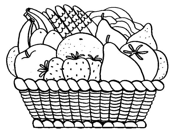 Arranging Fruits In Apple Basket Coloring Pages