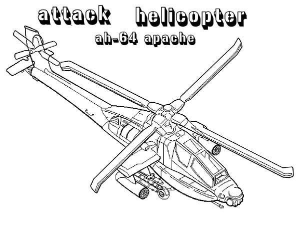 Apache Helicopter, : Attack Helicopter AH 64 Apache Helicopter Coloring Pages