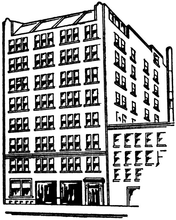 Apartment, : Awesome Apartment Building Coloring Pages