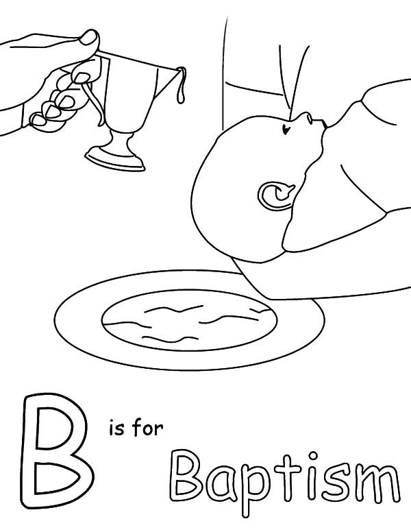 Baptism, : B is for Baptism Coloring Pages