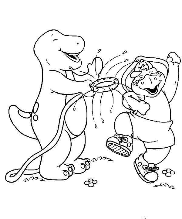 Barney, : BJ and Barney Happy Time Coloring Pages