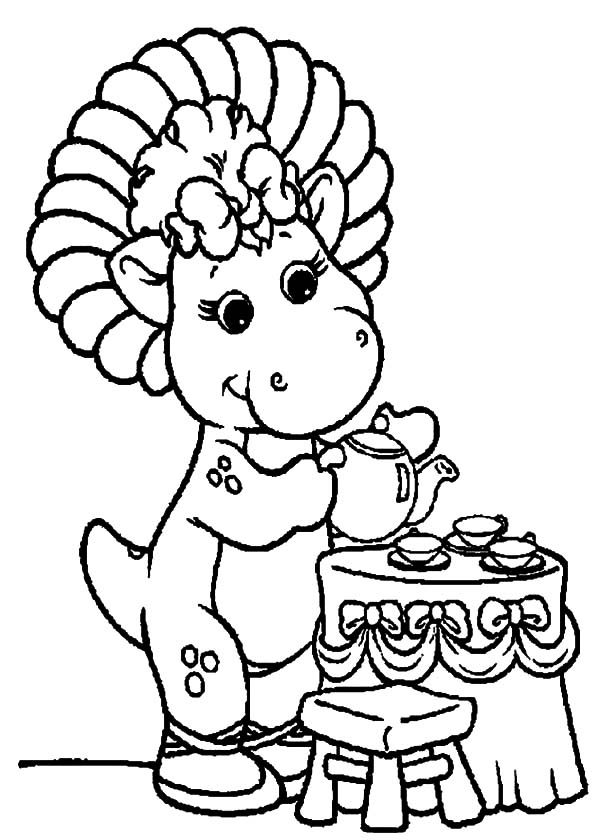 Barney, : Baby Bop Serving Tea for Barney Coloring Pages
