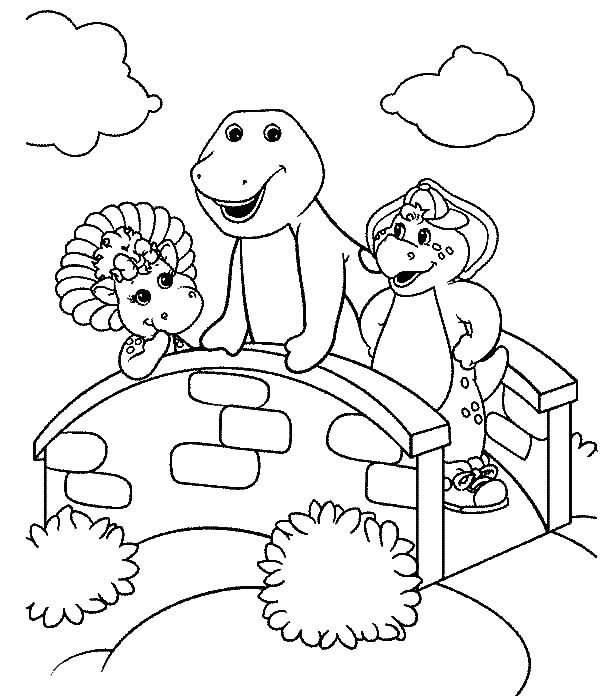 Barney, : Baby Bop and BJ Standing on Bridge with Barney Coloring Pages