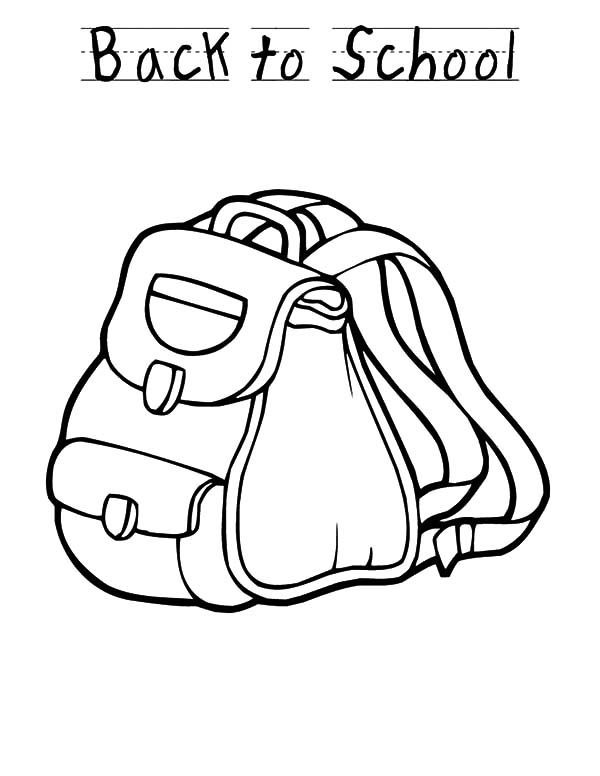 Backpack, : Back to School Backpack Design Coloring Pages