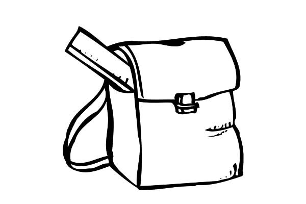 Backpack, : Backpack and a Ruler Coloring Pages