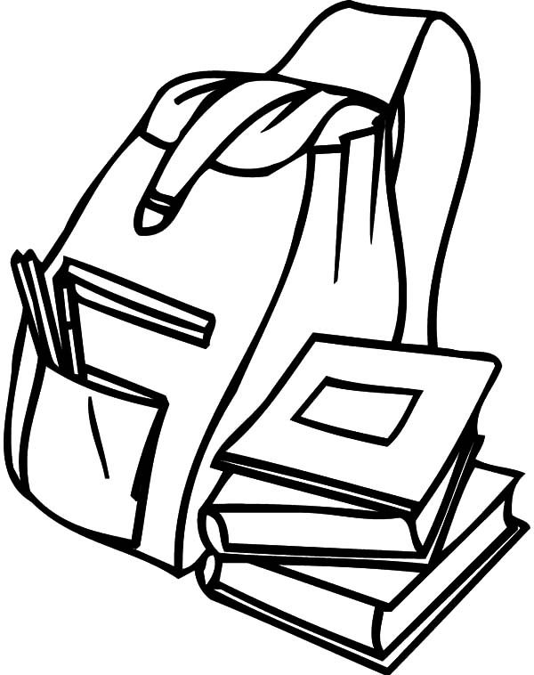Backpack, : Backpack for Student Coloring Pages