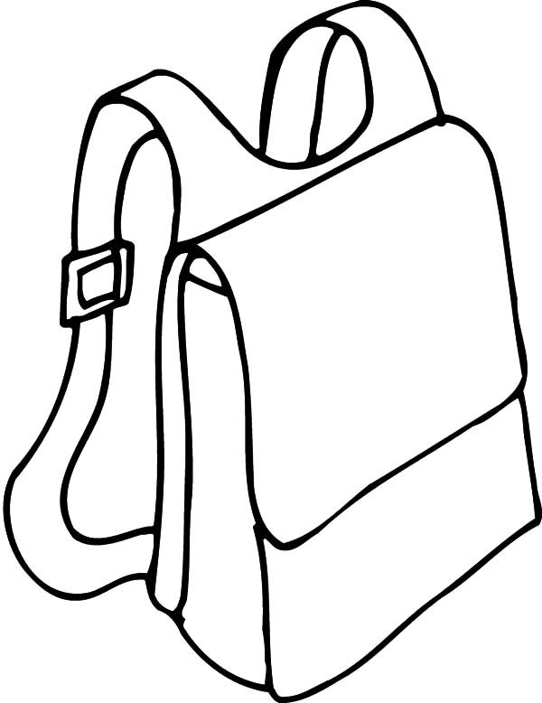 Backpack, : Backpack with Straps Coloring Pages