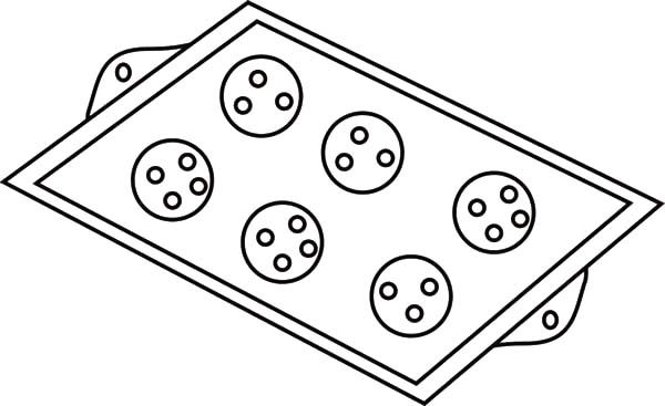 Baking Cookies, : Baking Cookies Tray Coloring Pages