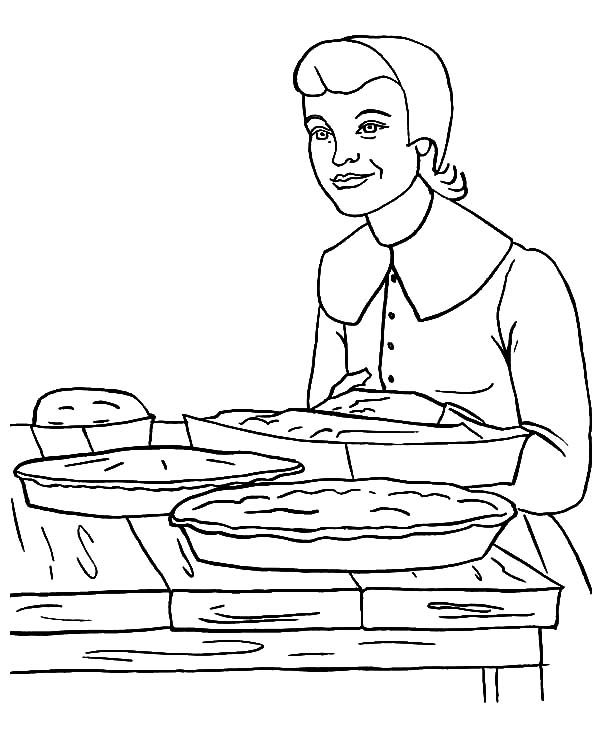Baking Cookies, : Baking Cookies for Thanksgiving Coloring Pages