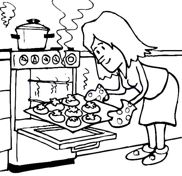Baking Cookies, : Baking Cookies in the Oven Coloring Pages