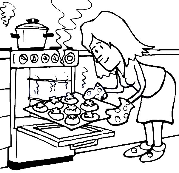 Baking cookies coloring pages sketch coloring page for Baking coloring pages