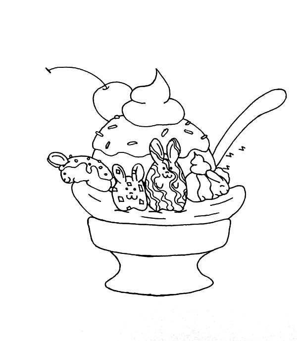Banana Split, : Banana Split Decoraetd with Bunny Coloring Pages