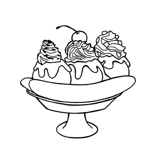 Banana Split, : Banana Split for Dessert Coloring Pages