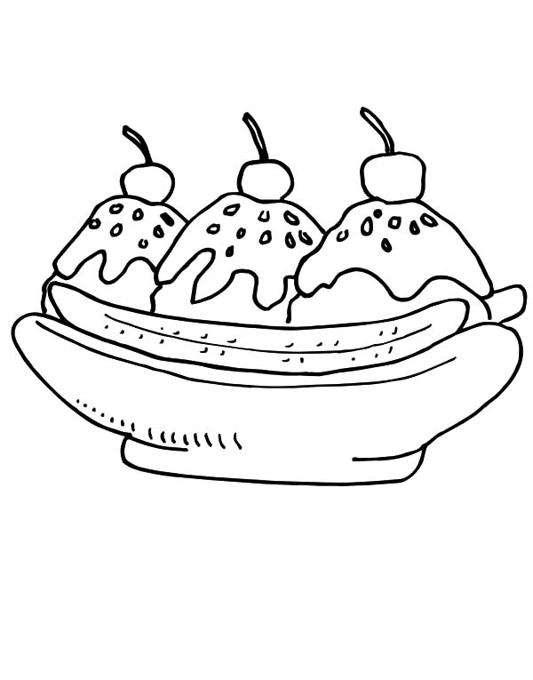 banana split with chocolate sprinkles coloring pages