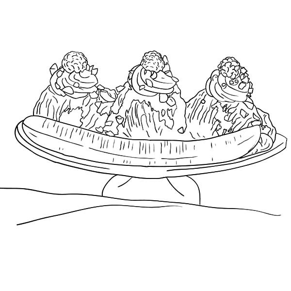 Banana Split, : Banana Split with Fruity Topping Coloring Pages