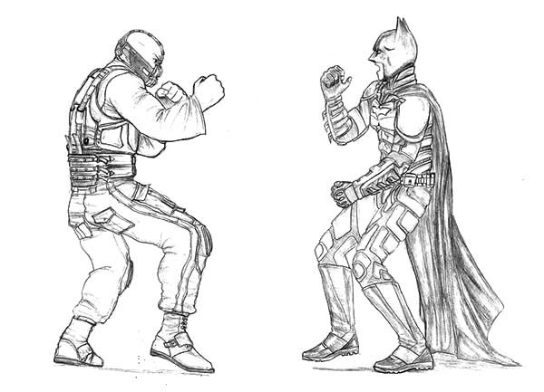 Bane Batman, : Bane Batman Face to Face Coloring Pages