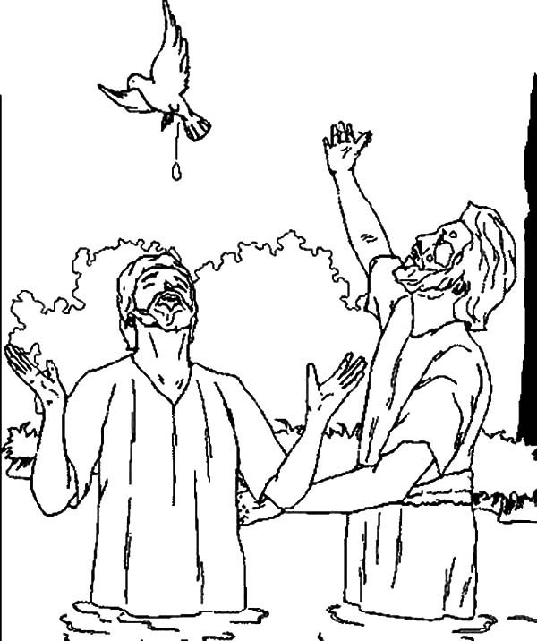 Baptism, : Bapptism of Jesus with Holy Spirit Coloring Pages