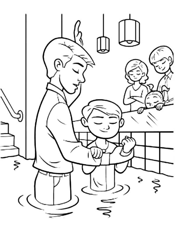 Baptism, : Baptism  Ordinances of Salvation Coloring Pages