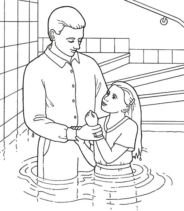 Baptism, : Baptism in a Pool Coloring Pages