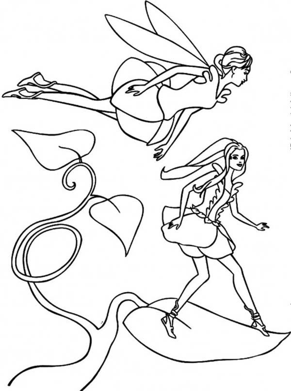 Barbie Fairytopia, : Barbie Elina and Dandelion Standing on a Leaf in Barbie Fairytopia World Coloring Pages