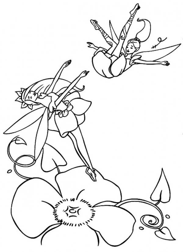 Barbie Fairytopia, : Barbie Elina and Fairy Dandelion Dancing Together in Barbie Fairytopia World Coloring Pages