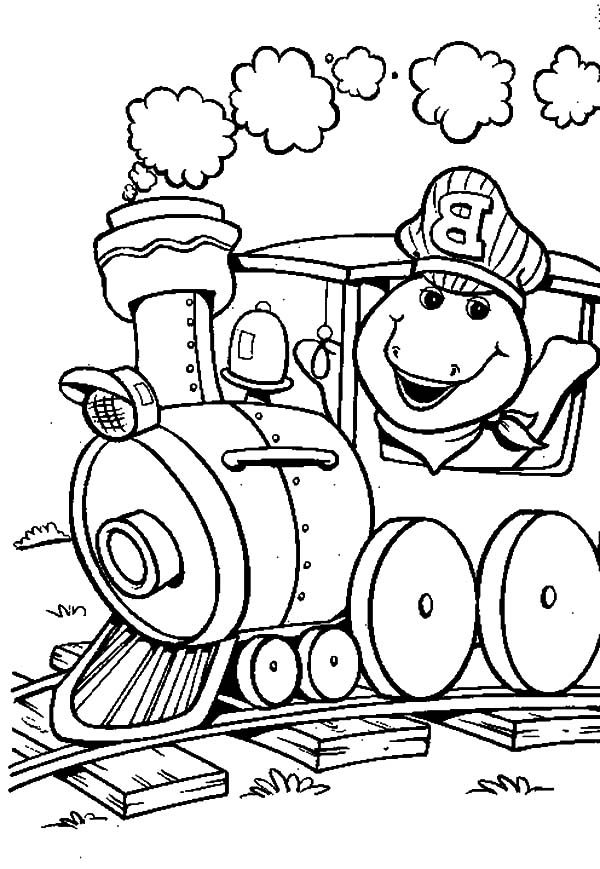 Barney, : Barney Driving a Train Coloring Pages