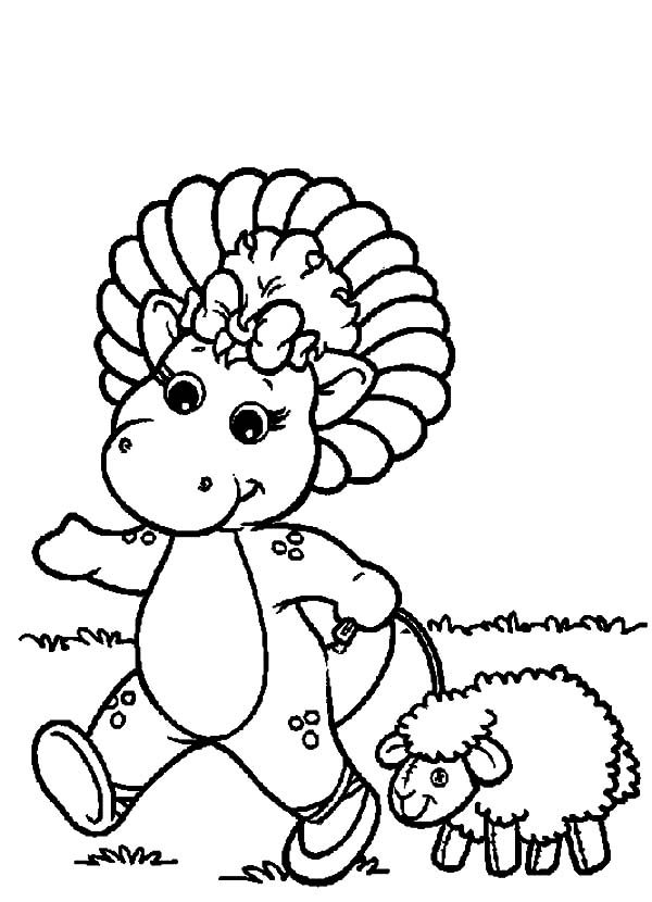 Barney, : Barney Friend Baby Bop Walking with a Sheep Coloring Pages