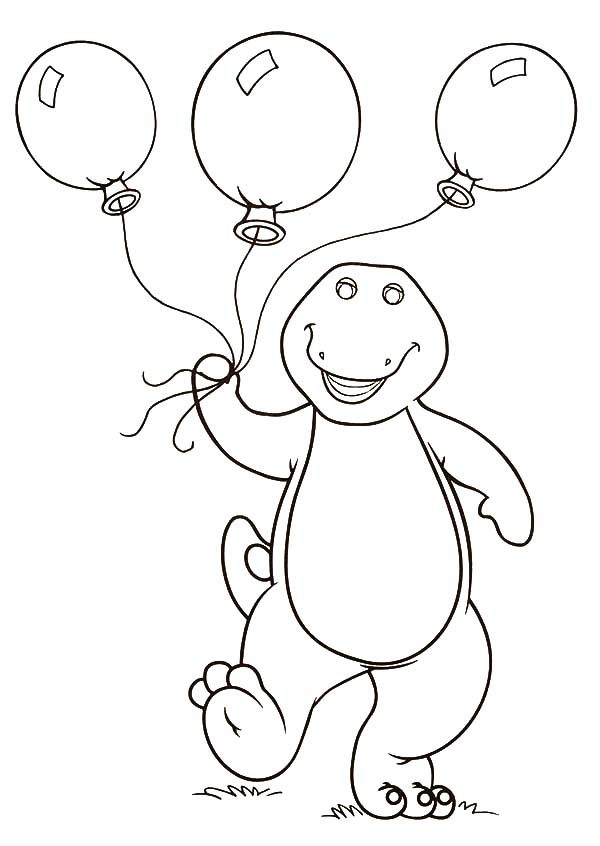 Barney, : Barney Holding Three Balloons Coloring Pages