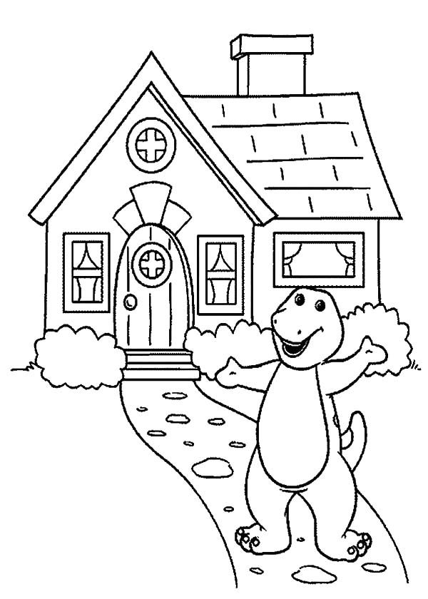 Barney, : Barney House Coloring Pages