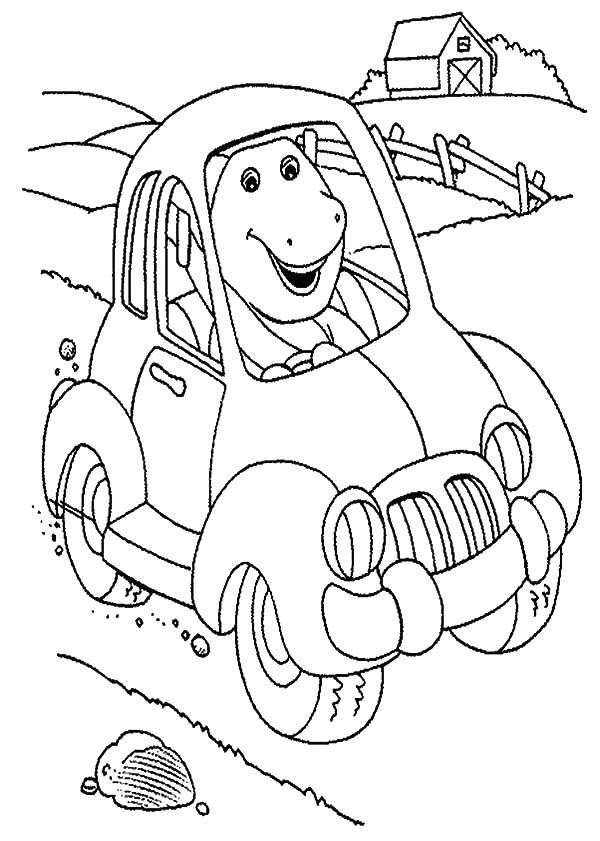 Barney, : Barney New Car Coloring Pages