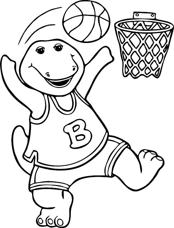 Barney, : Barney Playing Basketball Coloring Pages