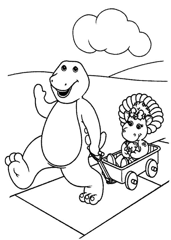 Barney, : Barney Pulling Baby Bop on a Cart Coloring Pages