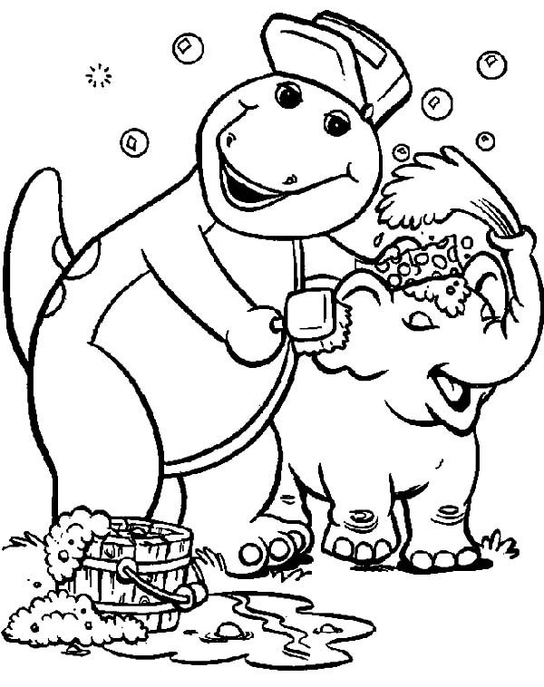 Barney, : Barney Take Baby Elelphant to Bath Coloring Pages