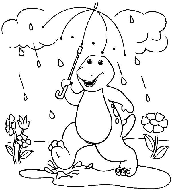 barney walking under the rain with umbrella coloring pages
