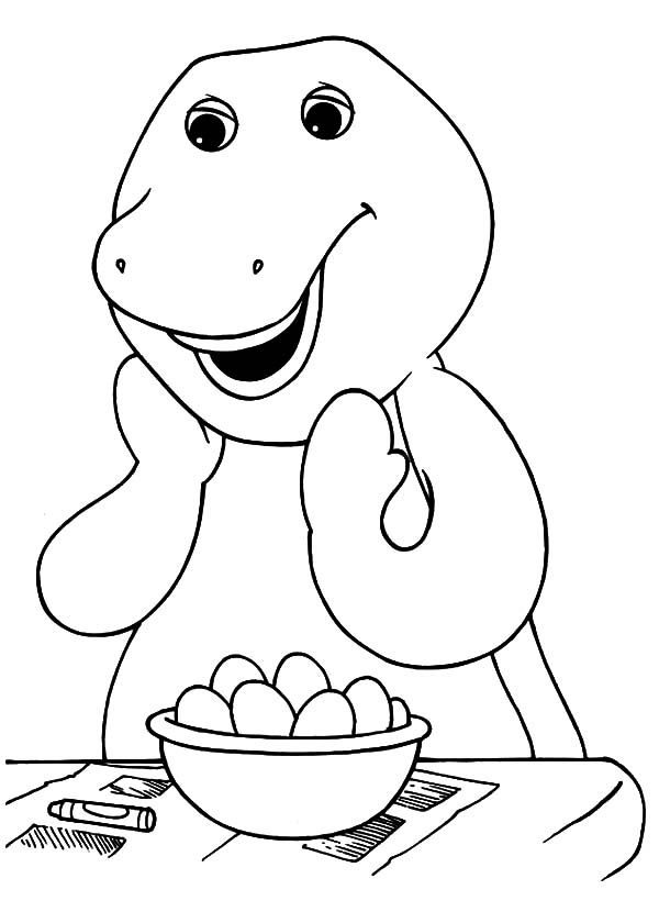 Barney, : Barney Want to Cook Eggs Coloring Pages