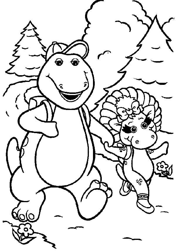 Barney, : Barney and Baby Bop Going Hiking Coloring Pages