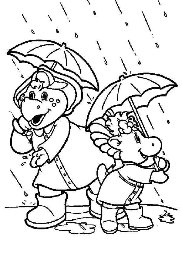 Barney, : Barney and Baby Bop Standing Under the Rain Coloring Pages