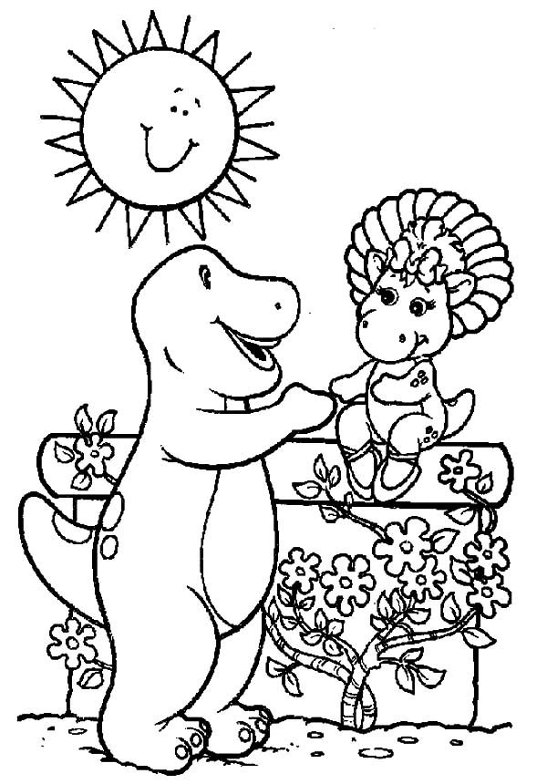 Barney and baby bop at the flower garden coloring pages for Baby bop coloring pages