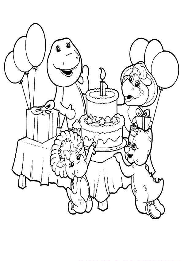 Barney, : Barney and Friends Celebrate Birthday Coloring Pages