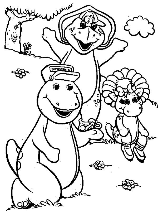 Barney, : Barney and Friends Coloring Pages