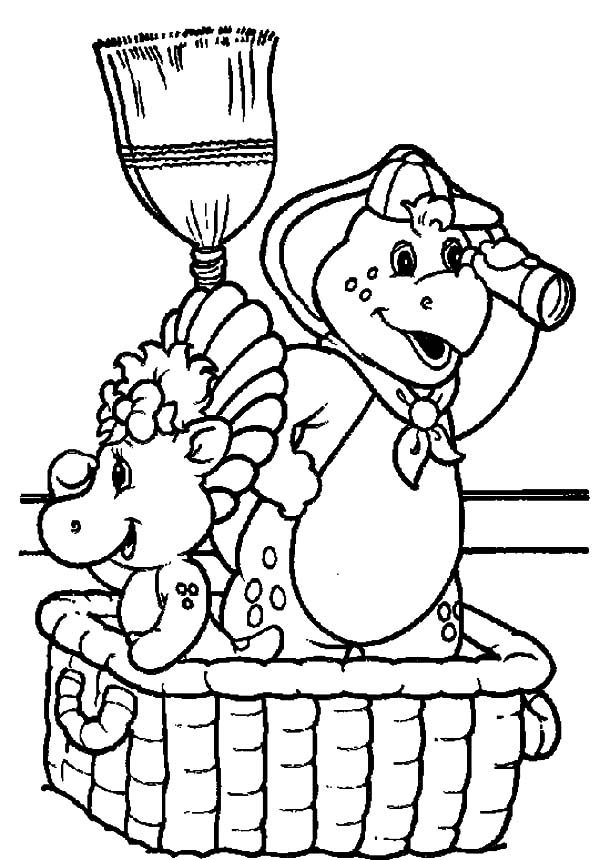 Barney, : Barney and Friends Pretends to be Pirate Coloring Pages