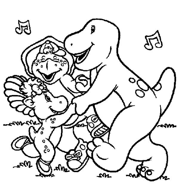Barney, : Barney and Friends Singing Together Coloring Pages