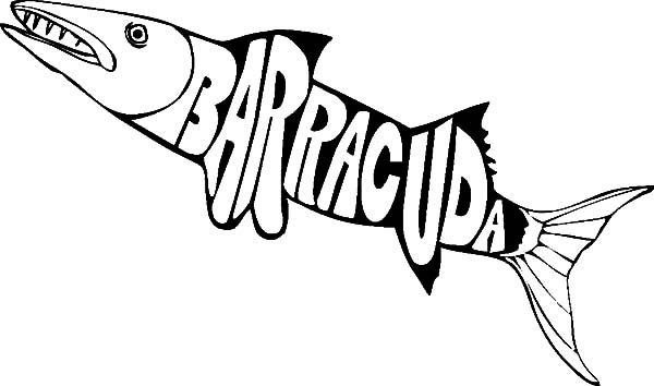Barracuda Fish, : Barracuda Fish Coloring Pages for Kids