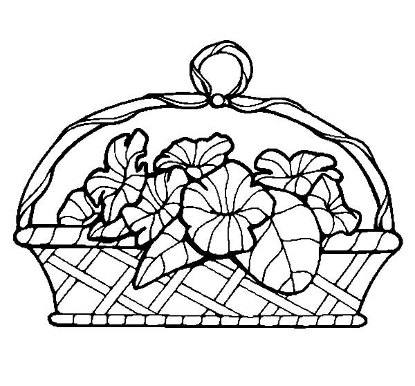 Basket of Flowers, : Basket of Flowers Coloring Pages