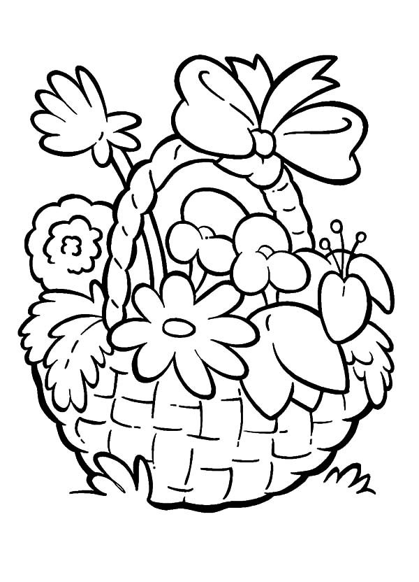 Basket of Flowers, : Basket of Flowers for Love Ones Coloring Pages