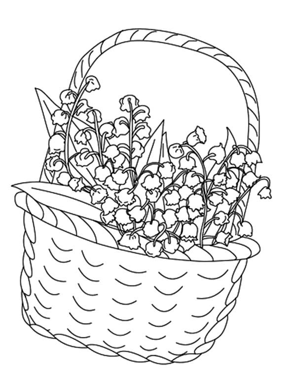 Basket of Flowers, : Basket of Flowers for Valentine Day Coloring Pages