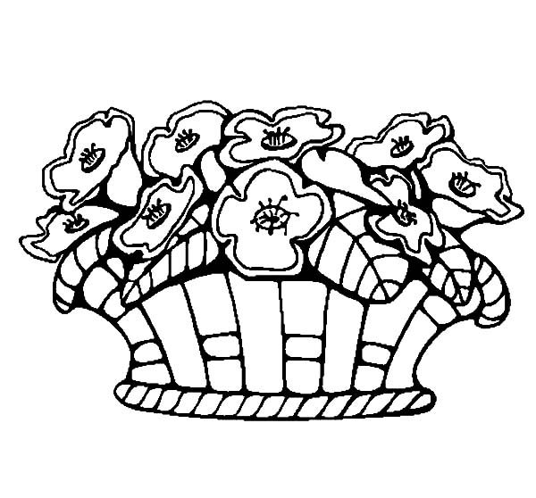 Basket of Flowers, : Basket of Flowers fro My Girlfriend Coloring Pages